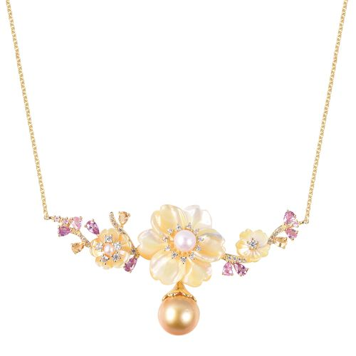 Jardin Collection - Yellow Mother of Pearl, Golden South Sea Pearl and Multi Gemstone Necklace (Size