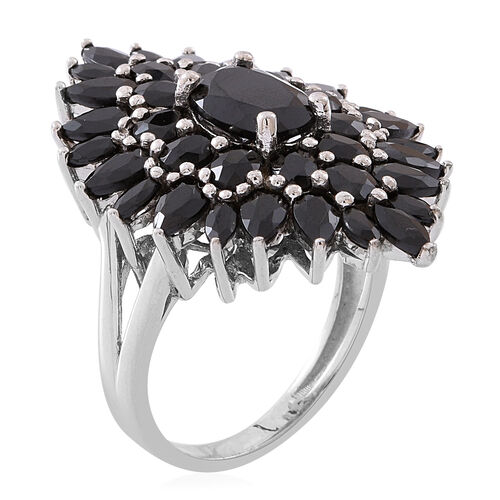Boi Ploi Black Spinel (Ovl 1.92 Ct) Ring in Rhodium Plated Sterling Silver 9.000 Ct. Silver wt 7.00 Gms.