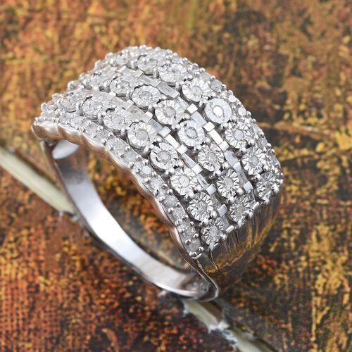 Designer Inspired- Diamond (Rnd) Ring in Platinum Overlay Sterling Silver 0.500 Ct.