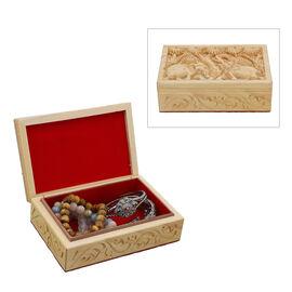 Handmade Owl Pattern Carved Wooden Storage Box (Size 15x10x5Cm)