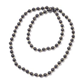 243.50 Ct Shungite Beaded Necklace in Yellow Gold Plated Sterling Silver 30 Inch