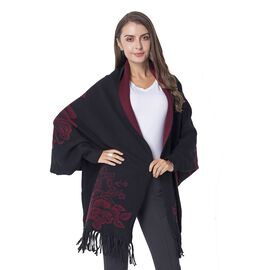Designer Inspired-Black and Wine Colour Kimono (Size 45.5x94+10 Cm)