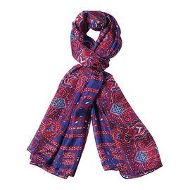 DOD - LA MAREY 100% Mulberry Silk Bohemian Pattern Scarf - Burgundy and Blue