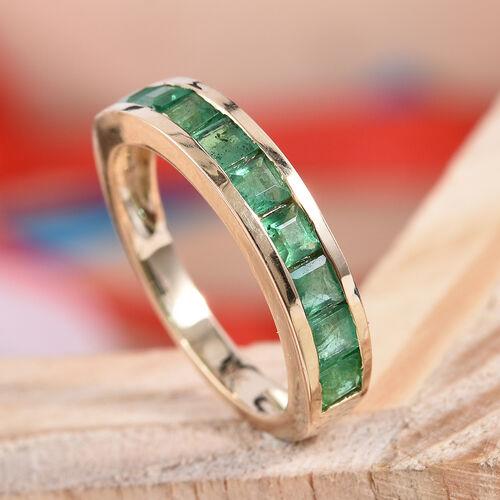 9K Yellow Gold AA Brazilian Emerald (Sqr) Half Eternity Band Ring 1.25 Ct.
