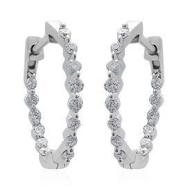 9K White Gold SGL Certified Diamond (Rnd) (I3 /G-H) Hoop Earrings 0.500 Ct.