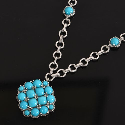 Tucson Close Out-Arizona Sleeping Beauty Turquoise and Natural Cambodian Zircon Necklace (Size 18) in Platinum Overlay Sterling Silver wt 14.70 Gms