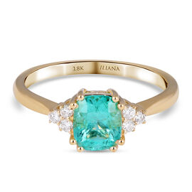 18K Yellow Gold  Colombian Emerald, White Diamond Ring 1.45 ct,  Gold Wt. 3.62 Gms  1.450  Ct.