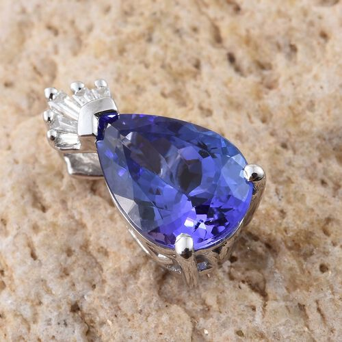 ILIANA 18K White Gold AAA Tanzanite (Pear 1.95 Ct), Diamond (SI G-H) Crown Pendant 2.000 Ct.