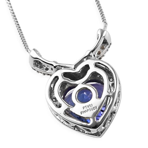 RHAPSODY 950 Platinum AAAA Tanzanite and Diamond (VS /E-F) Heart Pendant with Chain (Size 18) 2.00 Ct, Platinum 3.92 Gms