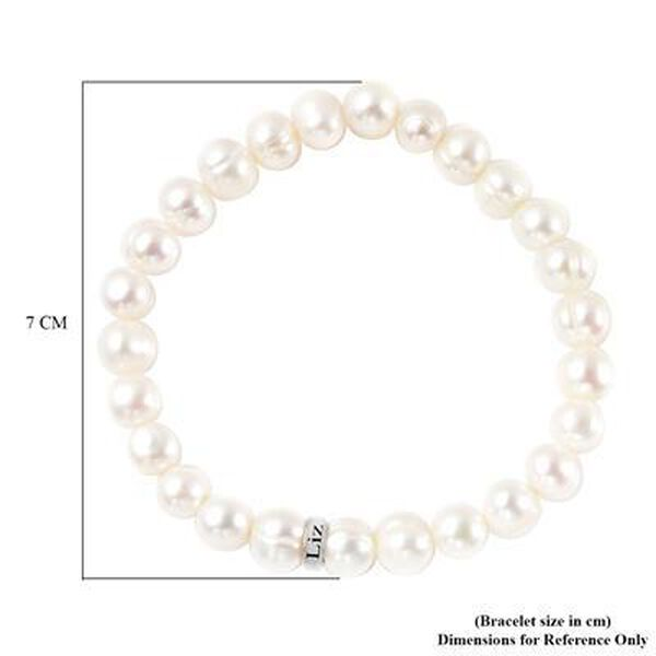 """Personalised Engravable Fresh Water Pearl and Ring Bracelet, Size 7"""" in Silver"""