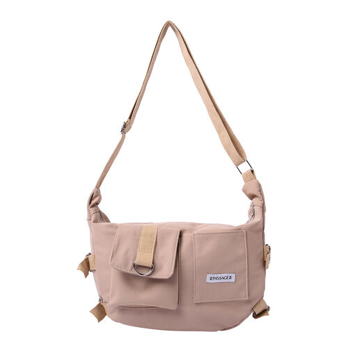 PASSAGE Beige Colour Crossbody Bag with Flap and Slip Pockets in Front and Zipper Pocket in Back (36