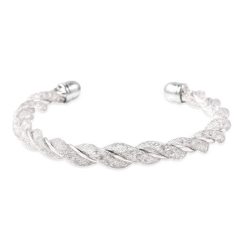 White Austrian Crystal Twisted Cuff Bangle (Size 7) in Silver Tone
