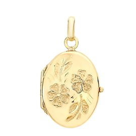 9K Yellow Gold Daisy Detail Oval Locket Pendant