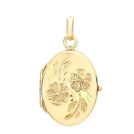 9K Yellow Gold Daisy Detail Oval Locket Pendant