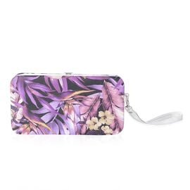 Floral Print RFID Blocking Clutch Wallet with Slot for Phone, Card and Cash (17.5x9.5x2.5cm)