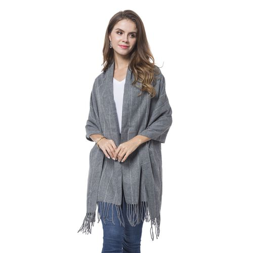 Italian Designer Inspired-Grey and White Colour Stripes Pattern Scarf with Tassels (Size 190X65 Cm)
