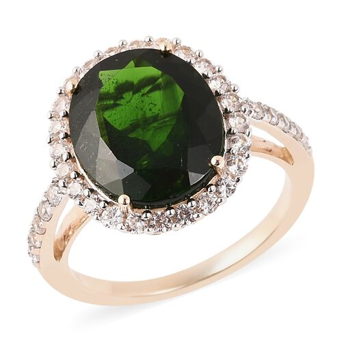 5.32 Ct Russian Diopside and Zircon Halo Cocktail Ring in 9K Yellow Gold 2.25 Grams