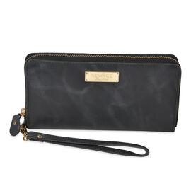 100% Genuine Leather RFID Blocker Ladies Wallet with Zipper Closure (Size 20x11 Cm) - Marble Black C