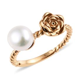 Fresh Water Pearl (1.25 Ct) 14K Gold Overlay Sterling Silver Ring  2.000  Ct.