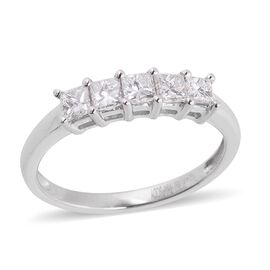 RHAPSODY 950 Platinum 0.50 Ct Diamond (Princess Cut) 5 Stone Ring IGI Certified (VS/F)