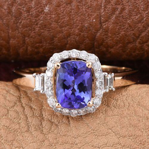 14K Y Gold AA Tanzanite (Cush 1.30 Ct), Diamond Ring 1.650 Ct.