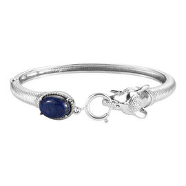 Lapis Lazuli Bangle (Size 7.5) with Spring Ring Clasp in Stainless Steel 6.94 Ct.