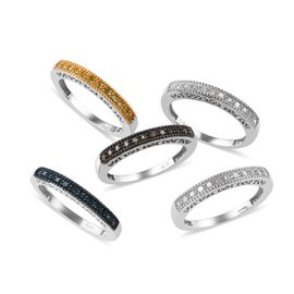 Set of 5 0.50 Ct Multi Colour Diamond Eternity Band Ring in Platinum Plated Silver