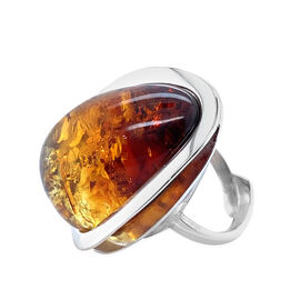 Natural Baltic Amber Adjustable Ring in Sterling Silver, Silver wt 6.27 Gms