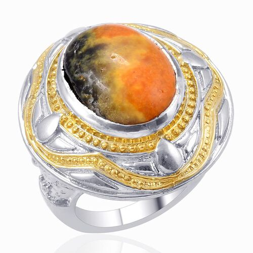 Designer Collection Bumble Bee Jasper (Ovl) Solitaire Ring in 14K YG and Platinum Overlay Sterling Silver 11.750 Ct.