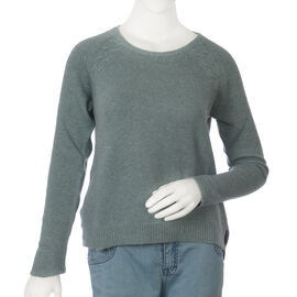 80% Wool Mallard Green Colour Top (Size S, 52.3x63.5cm)
