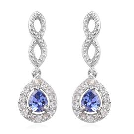 AA Tanzanite and Natural Cambodian Zircon Earrings (with Push Back) in Platinum Overlay Sterling Sil