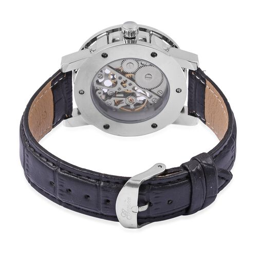 GENOA Semi - Automatic Mechanical Movement Black Dial Water Resistant Watch in Silver Tone with Black Strap