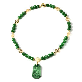 Carved Green Jade Beads Necklace (Size 20) with Magnetic Lock in Yellow Gold Overlay Sterling Silver