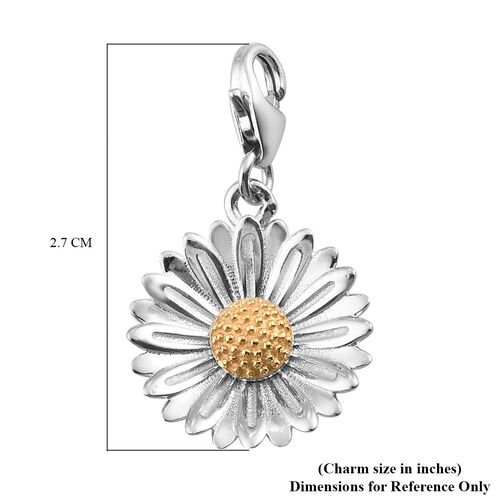 Aster September Birth Flower Charm in Platinum and Gold Plated Sterling Silver
