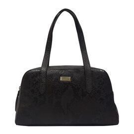 ASSOTS LONDON Eleanor Genuine Bourbon Leather Shoulder Bag (Size 35.5x21x7) - Black