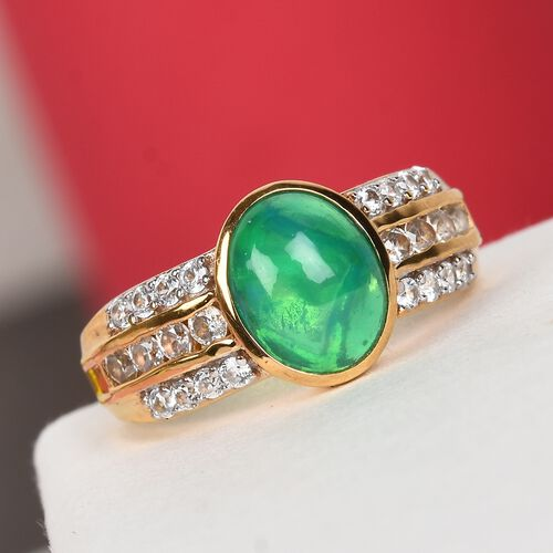 Green Ethiopian Opal and Natural Cambodian Zircon Ring 14K Gold Overlay Sterling Silver 1.75 Ct.