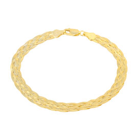 Vicenza Collection- 14K Gold Overlay Sterling Silver Braided Herringbone Bracelet (Size 7.5).Silver