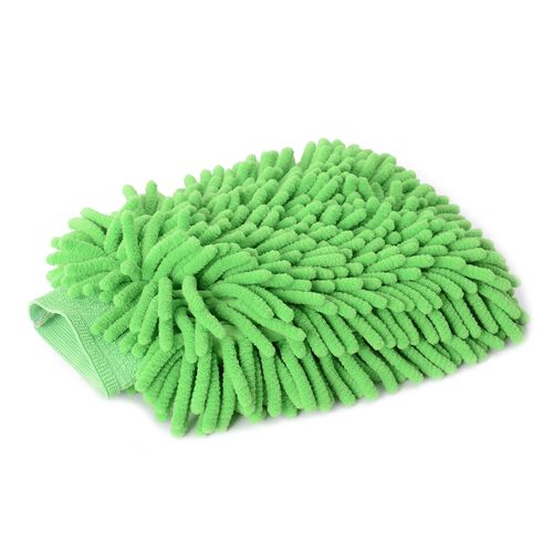 4 piece Set of Car Accessories feature a Chenille Cleaning glove (Size 22x17), 2 pcs Cleaning Towel (Size 40x30 Cm) and a cell phone holder (20x11 Cm) for Car  Dash Board Green Colour