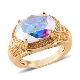 J Francis - Crystal from Swarovski AB Crystal and Diamond Ring in 18K Yellow Gold Plated