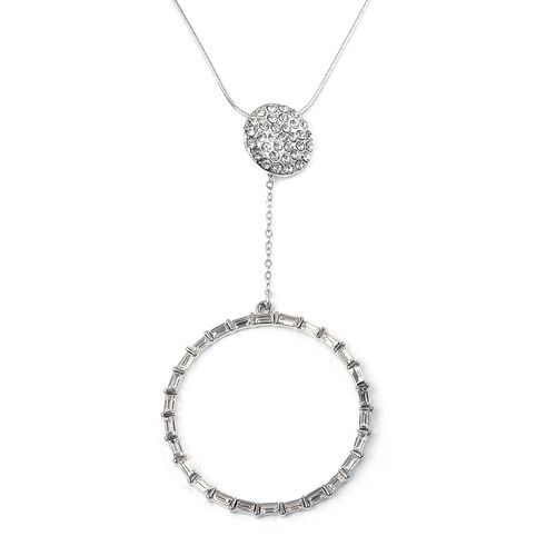 Designer Inspired- White Austrian Crystal (Rnd), Simulated Diamond Circle Pendant With Chain (Size 30 with 2 inch Extender) in Silver Plated