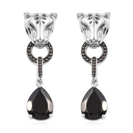 Elite Shungite (Pear 10x8 mm) Tiger Head Drop Earrings (with Push Back) in Platinum Overlay Sterling