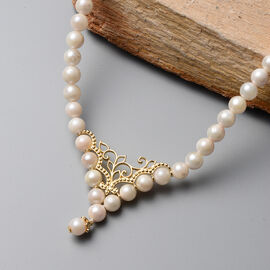 Japanese Akoya Pearl Adjustable Necklace (Size 18- 20) in Yellow Gold Overlay Sterling Silver