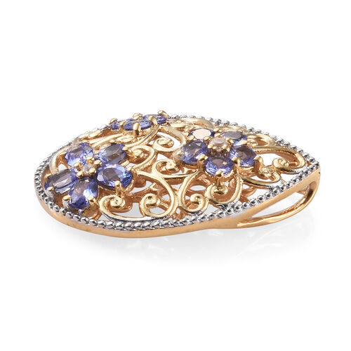 Tanzanite (Ovl and Rnd), Natural Cambodian Zircon Pendant in 14K Gold Overlay Sterling Silver 2.250 Ct.
