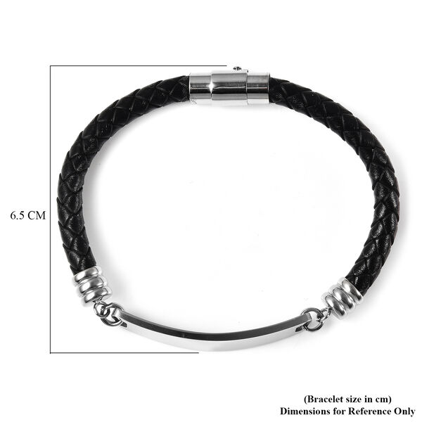 Personalised Engravable ID Bar Leather Bracelet in Silver Tone, 8 inch