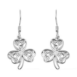 Diamond Floral Celtic Hook Earrings in Platinum Overlay Sterling Silver 0.09 Ct.