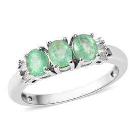 1.06 Ct Boyaca Colombian Emerald and Diamond Trilogy Design Ring in Rhodium Plated Sterling Silver