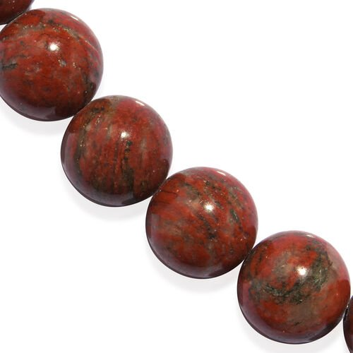 Red Jasper (Rnd) Beads Necklace (Size 20) in Rhodium Plated Sterling Silver with Magnetic Lock 480.000 Ct.