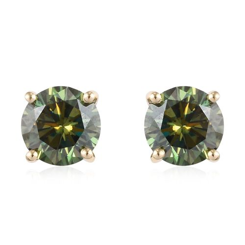 Collectors Edition- 9K Yellow Gold Green Moissanite Earrings 2.00 Ct.