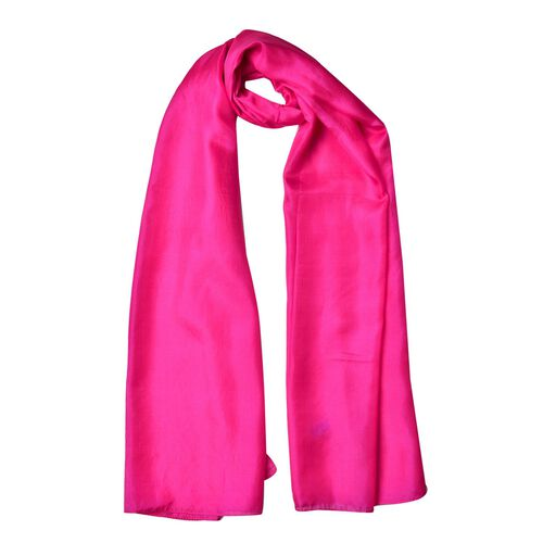 Pantone Collection - 100% Mulberry Silk Fuchsia Colour Scarf (Size 175X90 Cm)