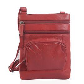 Super Soft 100% Genuine Leather Red Colour Multi Compartments Crossbody Bag (Size 22x18 Cm)